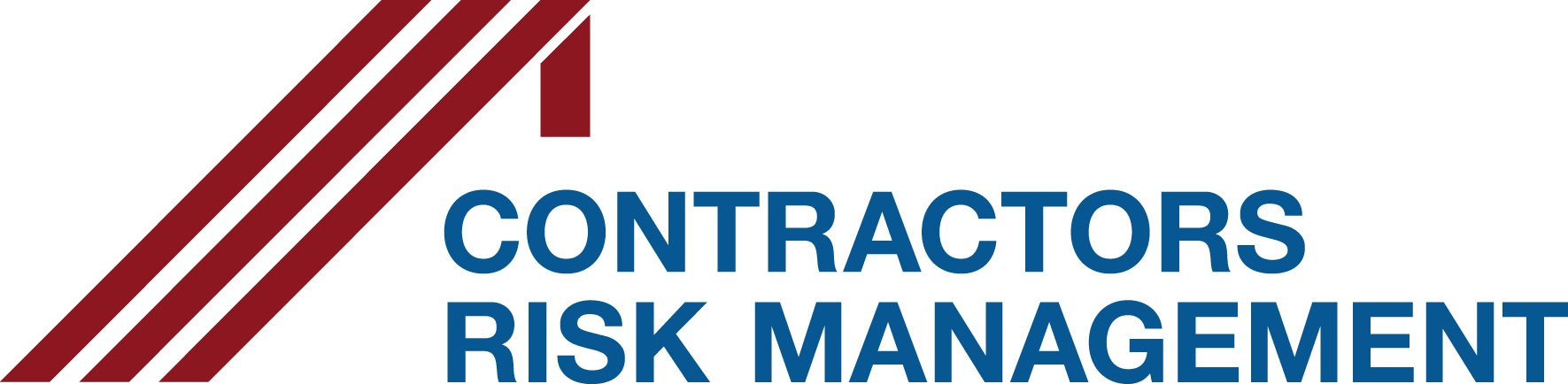 Company logo featuring three maroon diagonal lines above the name of the company, Contractors Risk Management, in blue.