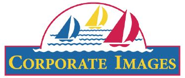 Company logo featuring one blue, one yellow and one red sailboat out on the water, above a blue box with the company name, Corporate Images, written in yellow.