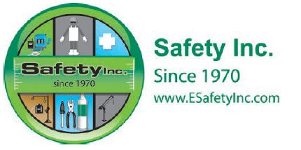 """Company logo of a green circle with six sections, each featuring various safety gear and equipment, tools, and chemicals, with a green bar in the center that says, """"Safety Inc. since 1970"""". To the right of the logo is written, """"Safety Inc. since 1970. https://www.esafetyinc.com/""""."""